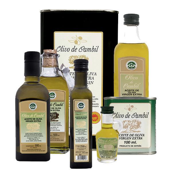 Aceite de oliva virgen extra (AOVE) con DO Sierra Mágina: OLIVO DE CAMBIL y LA CÁNTARA.